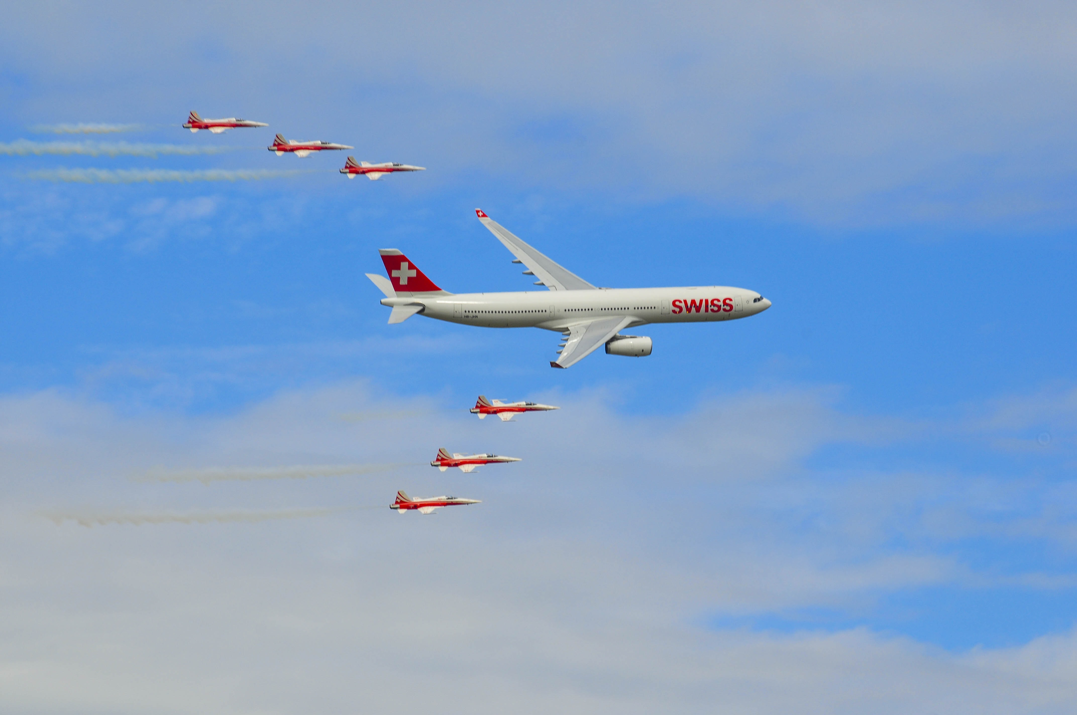 white and red Swiss airliner on flight