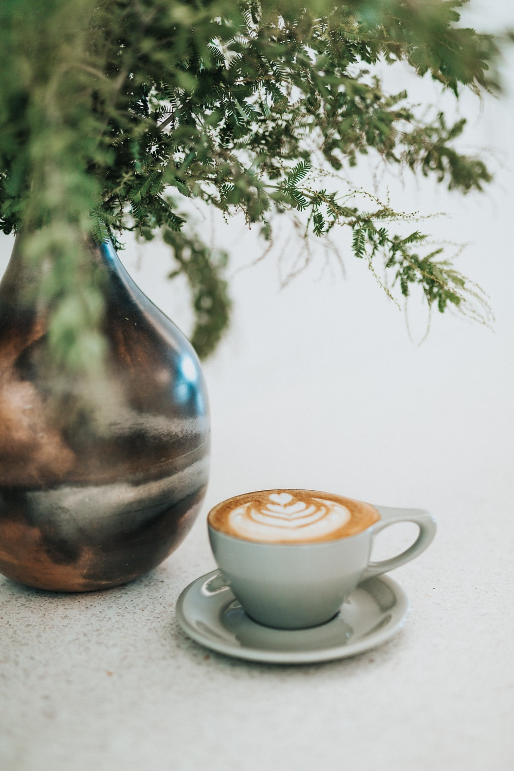 cup of coffee latte near plants in vase