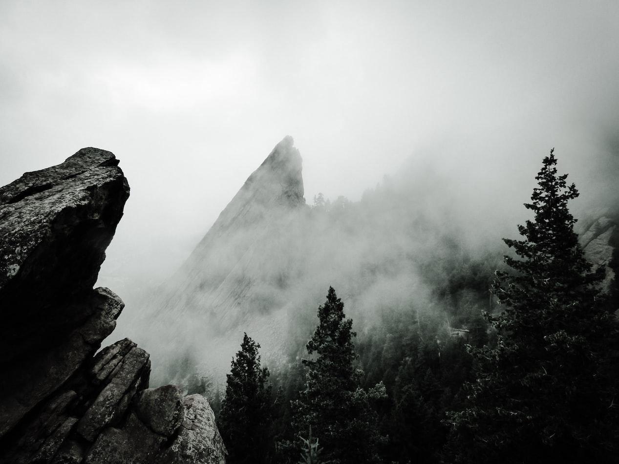 misty mountain in Boulder, Colorado