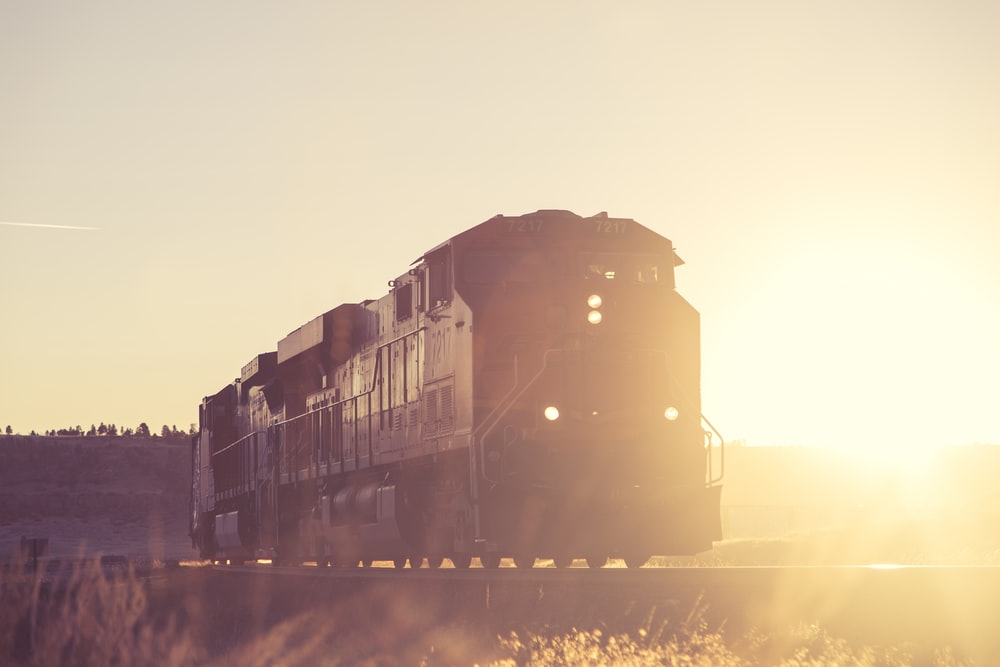 silhouette photo of black train on rail