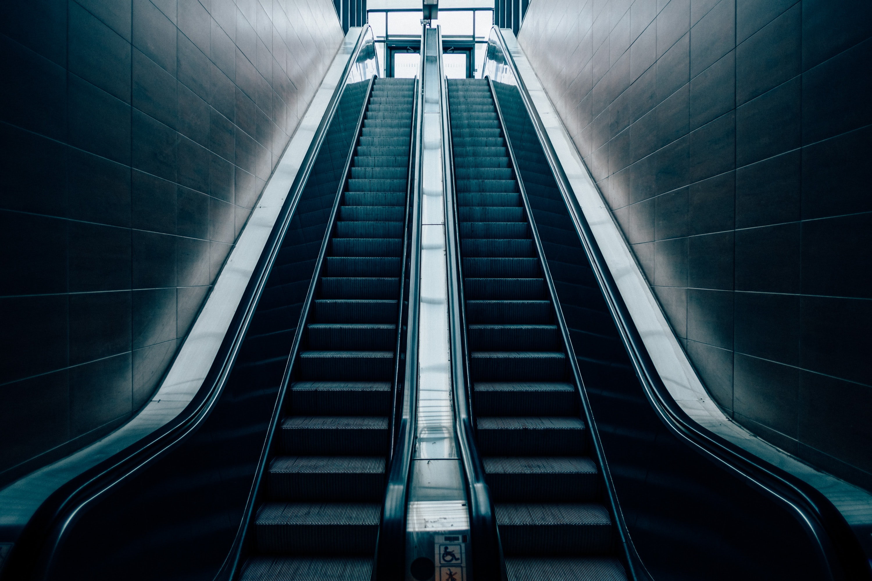 architectural photo of escalator