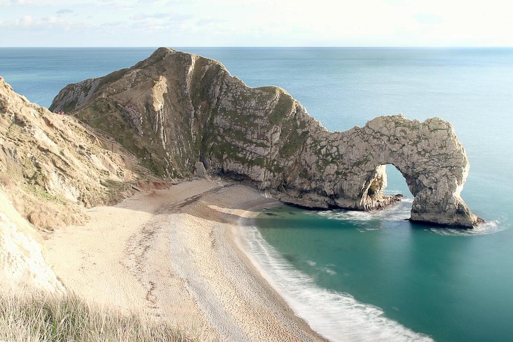 long exposure photography of seashore