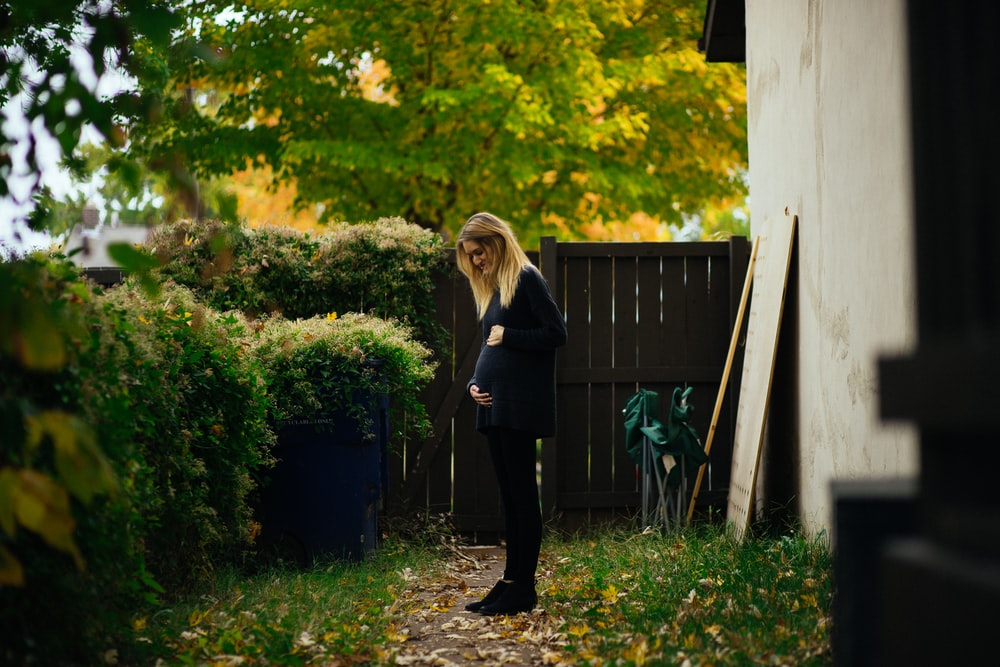 pregnant woman touching belly while looking at green bush near brown wooden fence during daytime