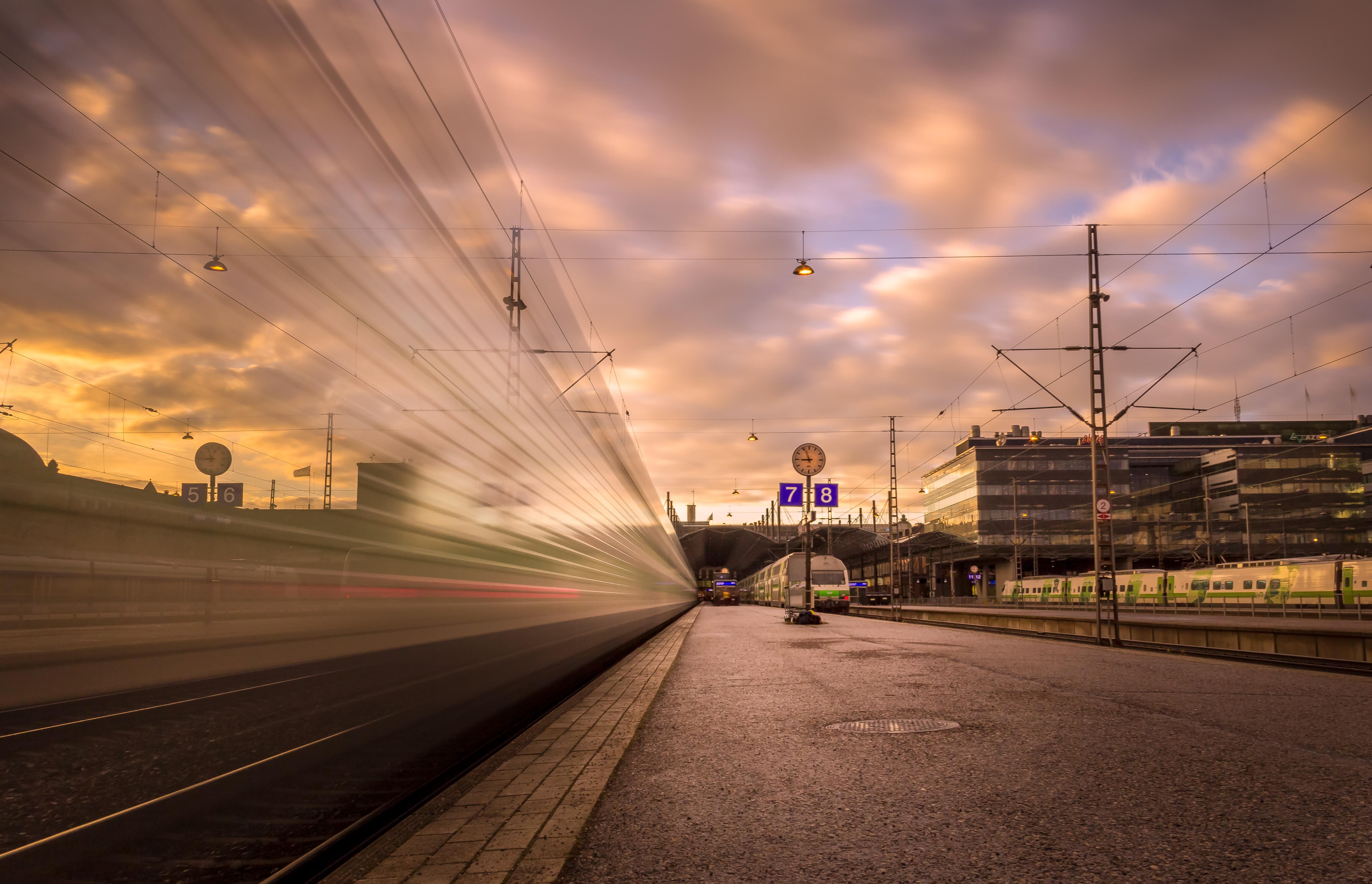 photo of train near station