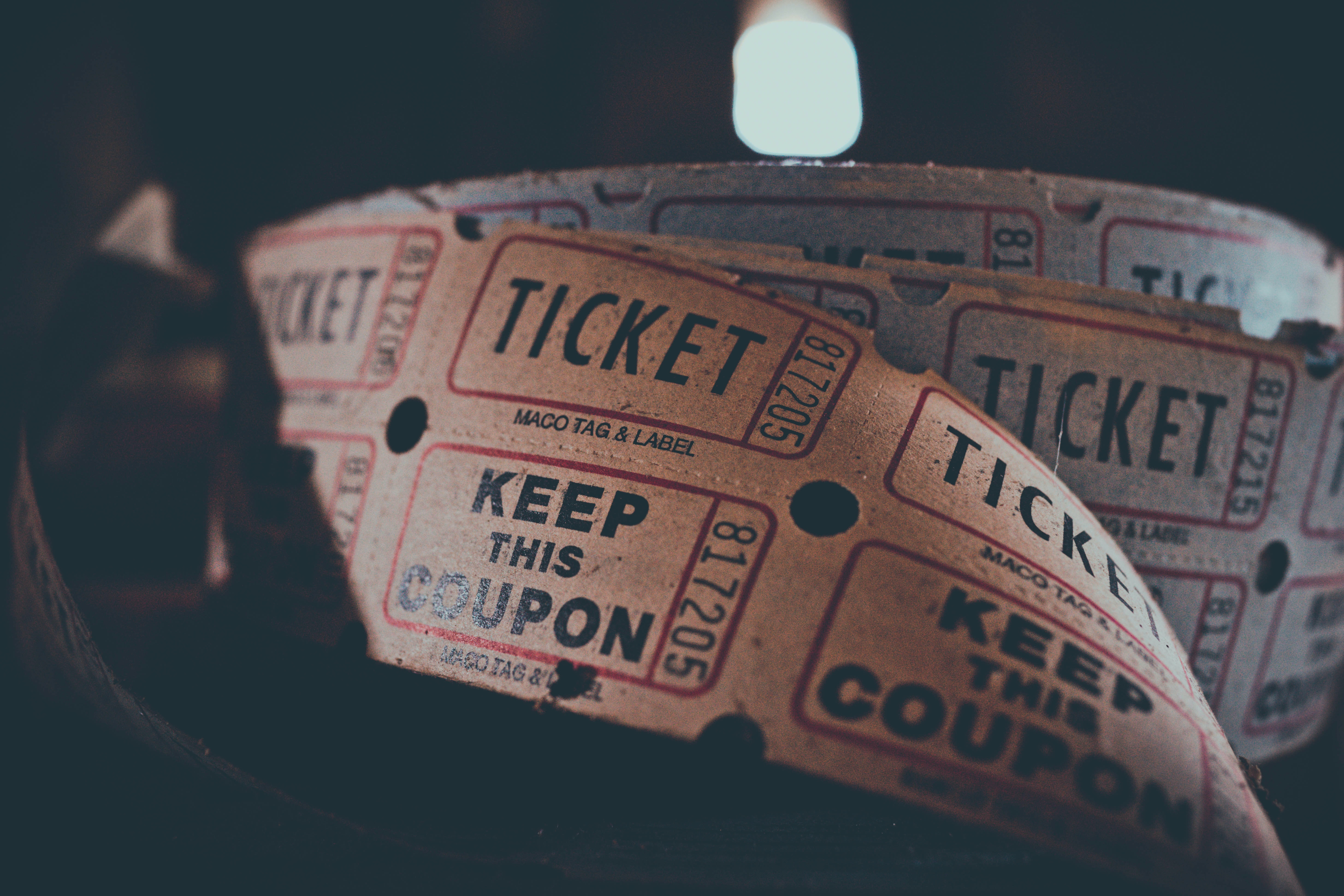 tickets in shallow focus photography