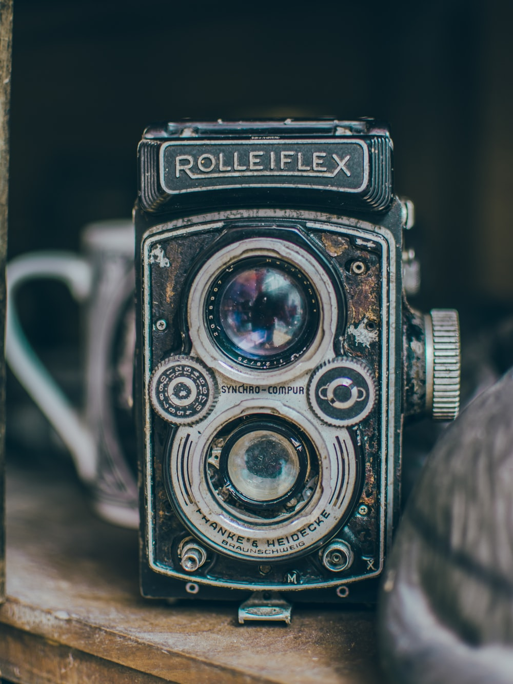 vintage black Rolleiflex camera