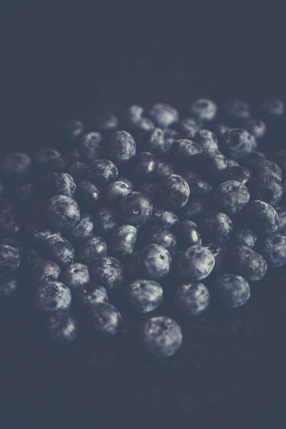 close-up photography of pile of blueberries