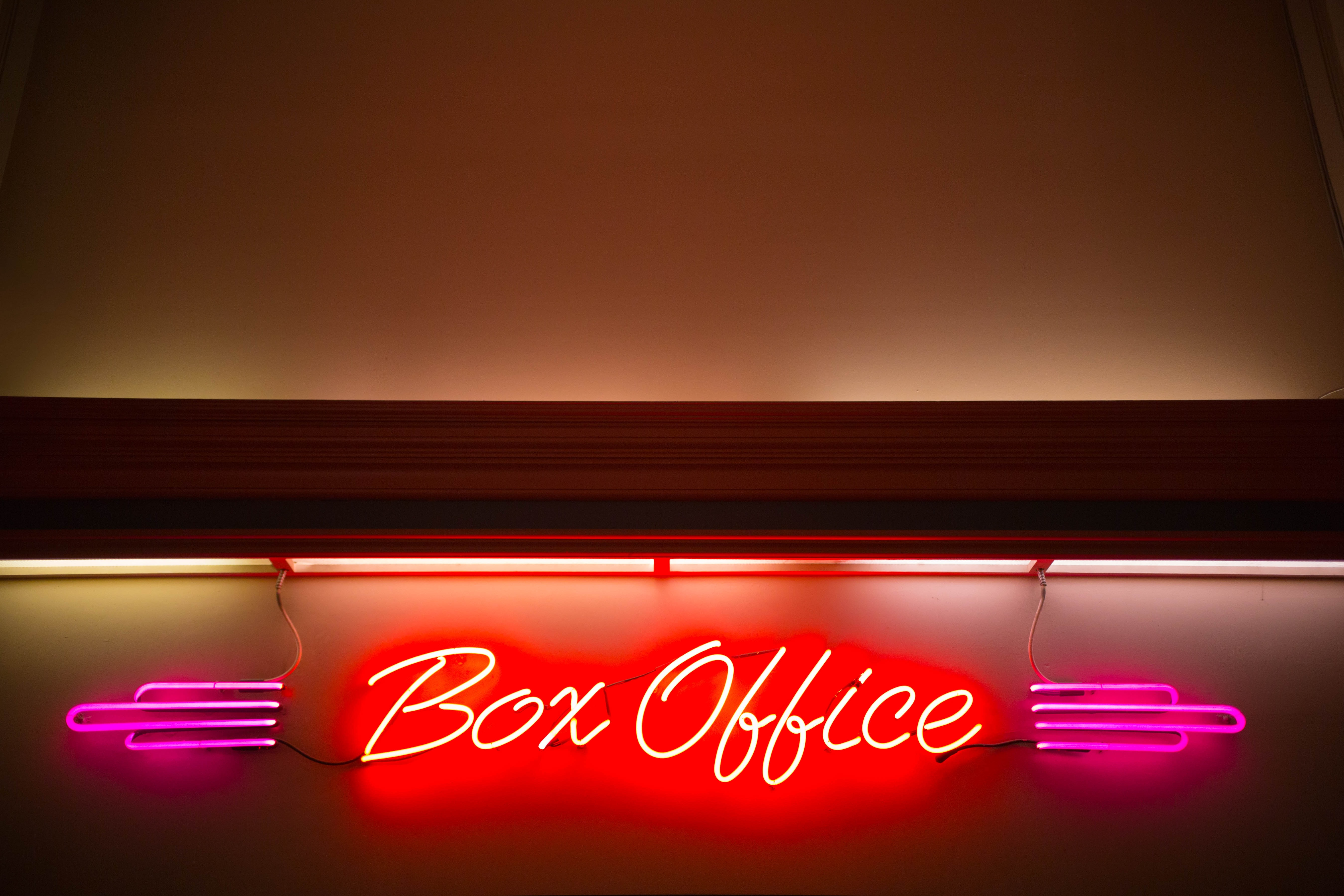 wall mounted red box office neon light signage