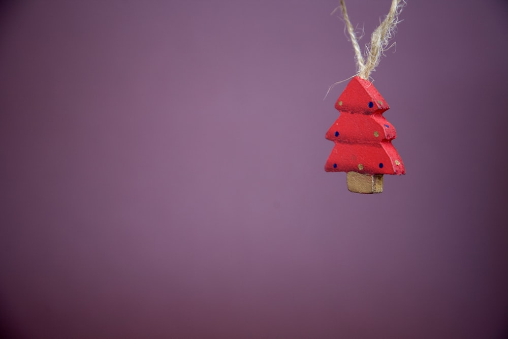 hanged red wooden christmas tree ornament