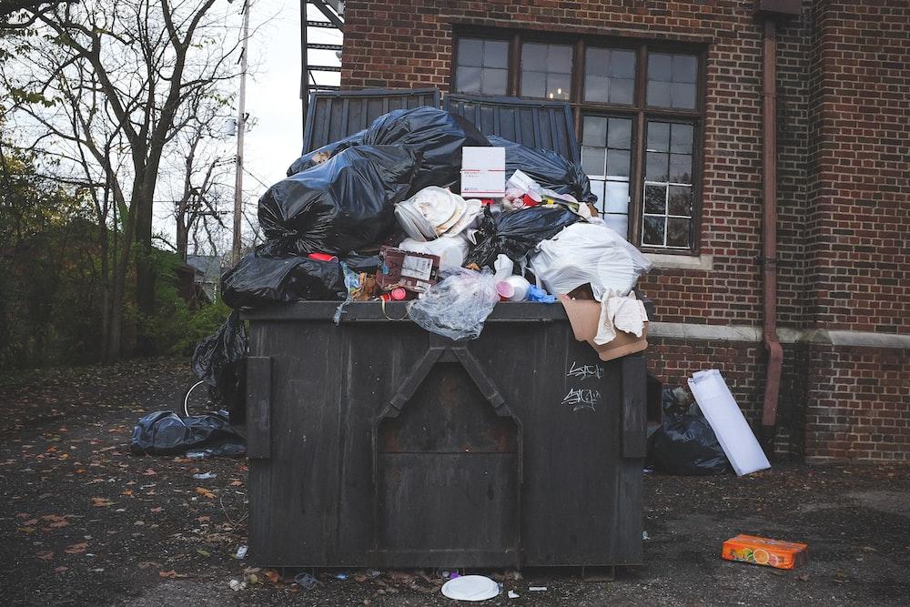 black trash bin