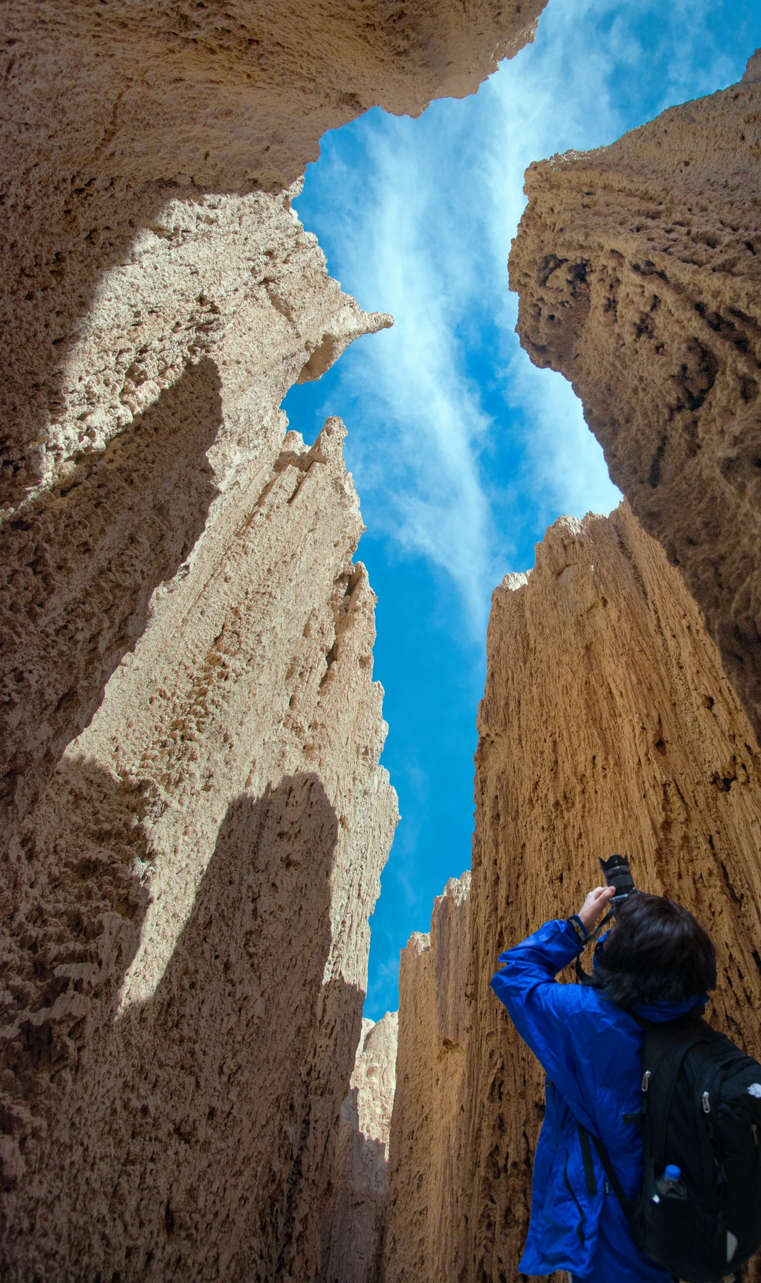 Looking up at Cathedral Gorge State Park, Nevada