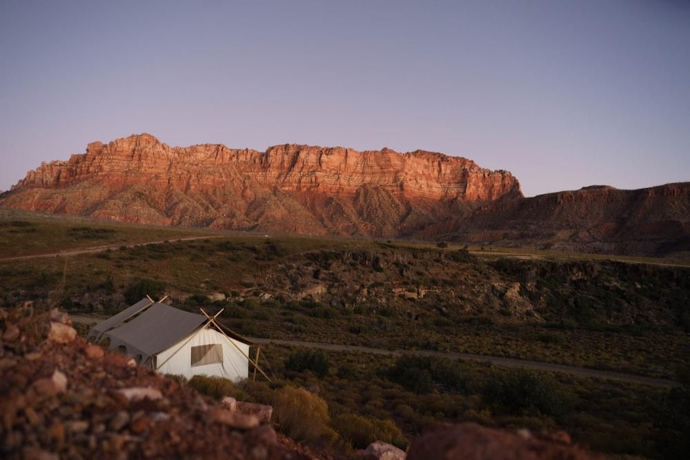 white tent near brown canyon