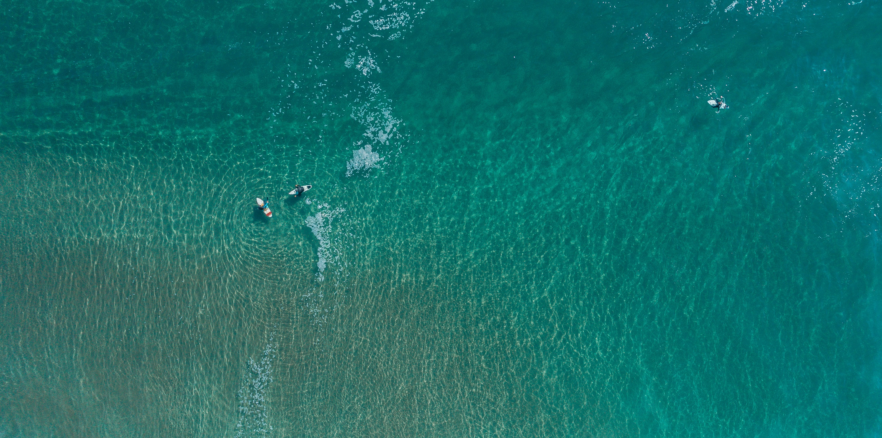 two person surfing on ocean aerial photography