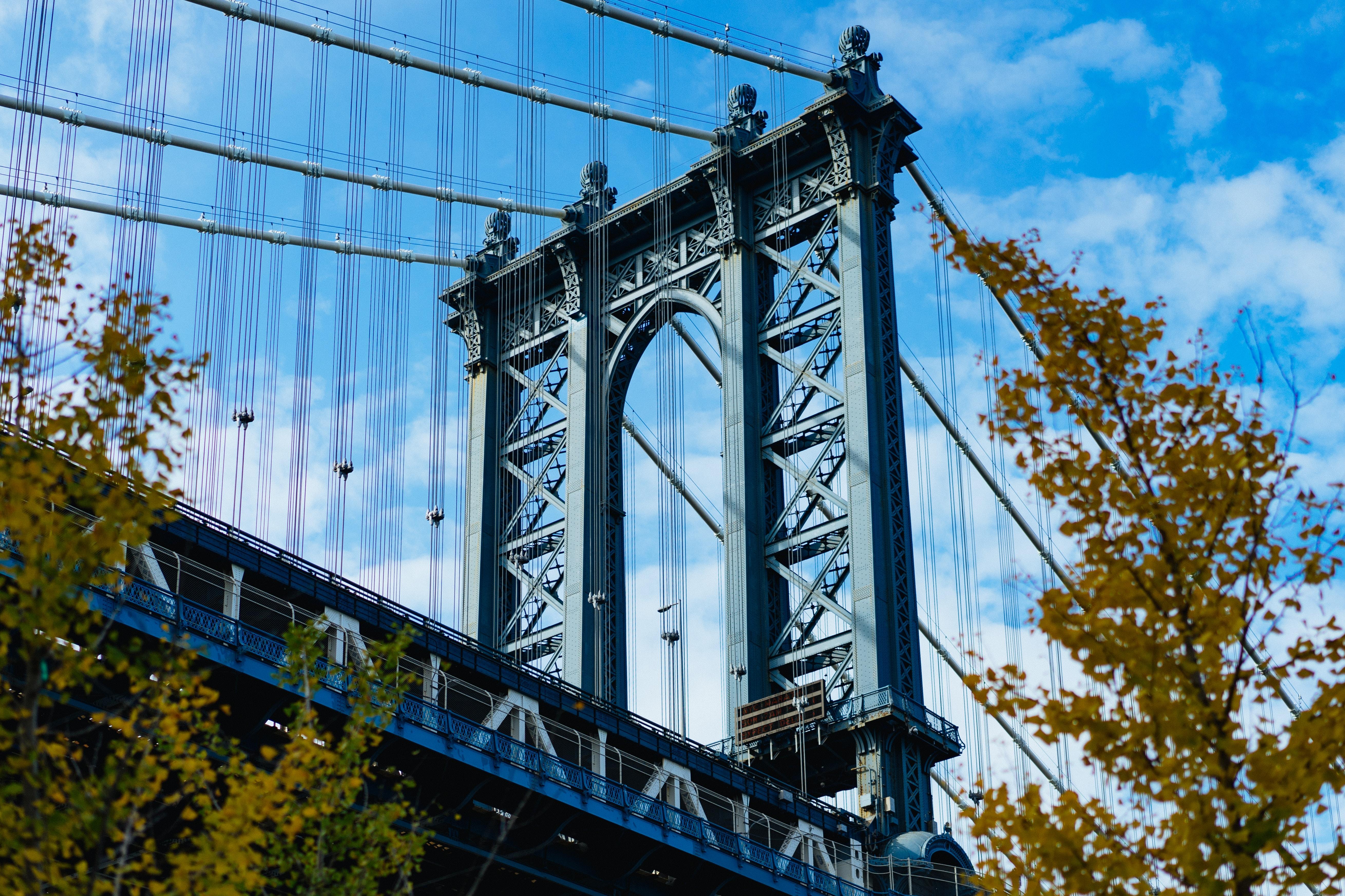low-angle photo of gray bridge during daytime