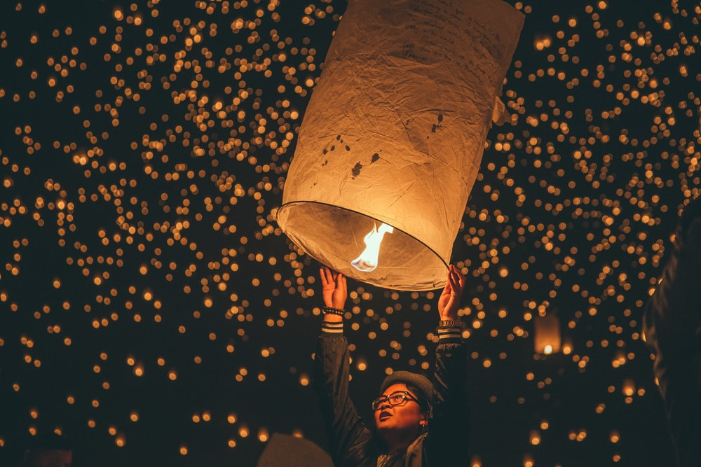 person holding paper lantern
