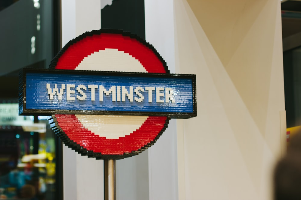 blue and white Westminster signage