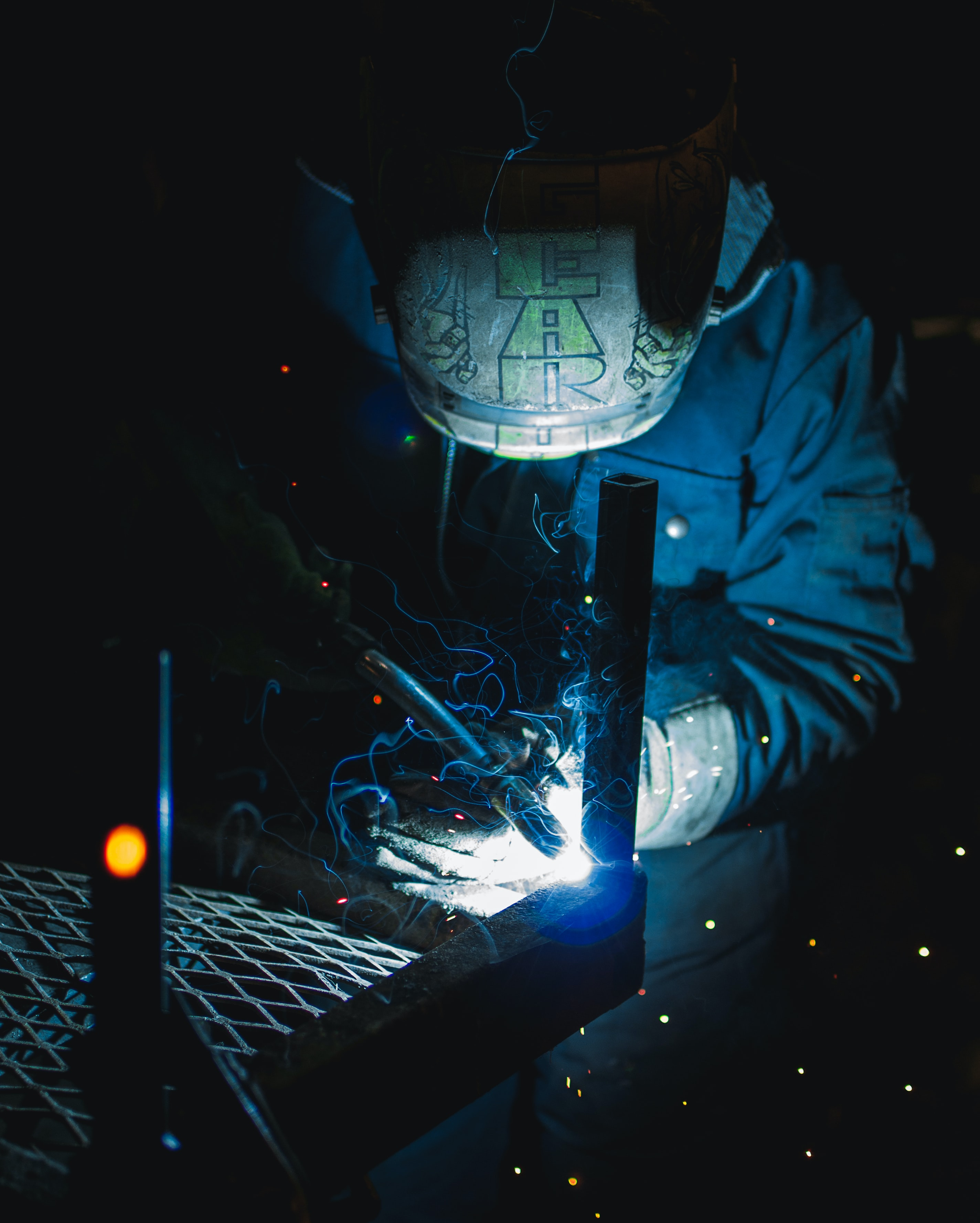 time lapse photography of welder