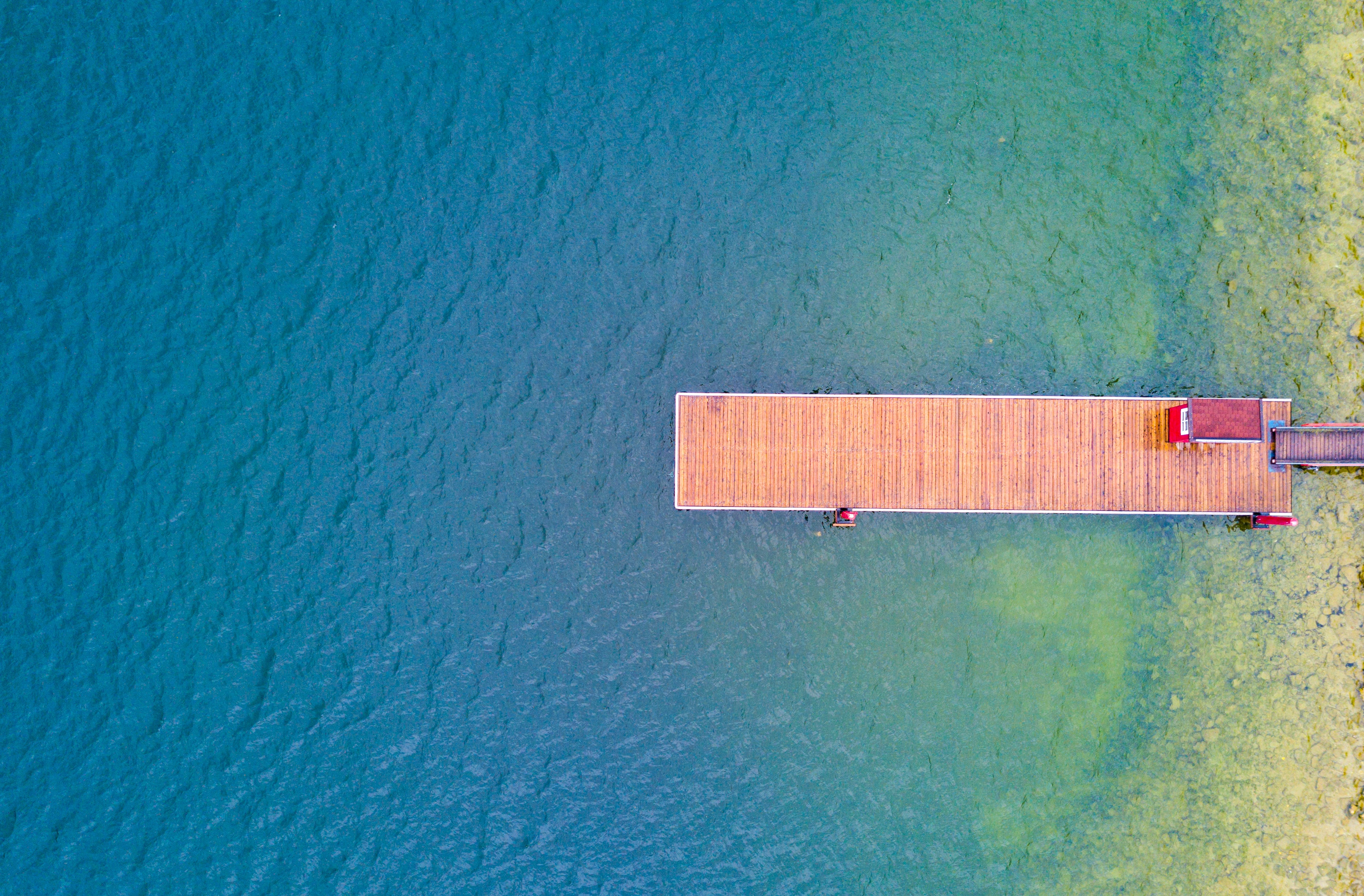 aerial photography of wooden dock