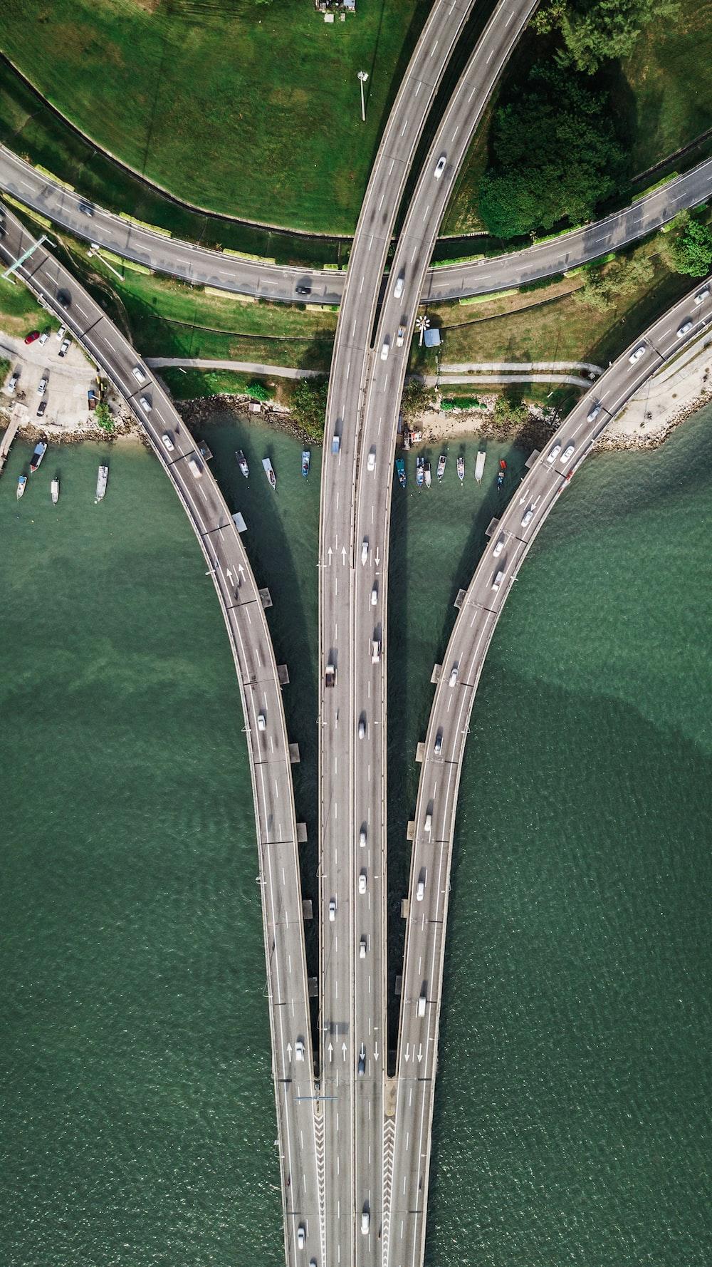 three gray concrete highways