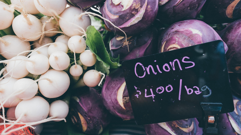 purple onion and white turnip