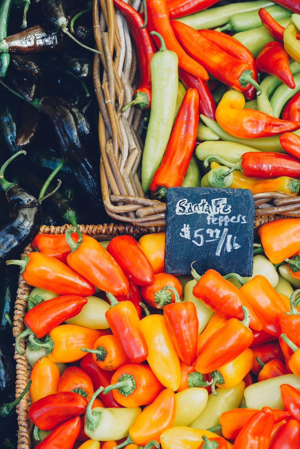 orange bell pepper and assorted-color jalapenos