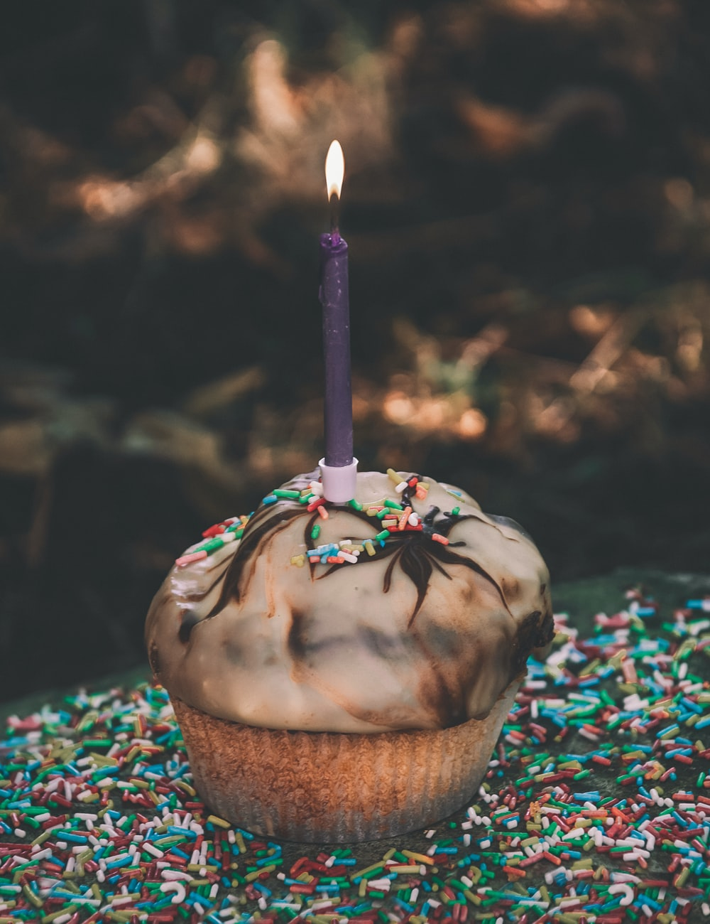 Chocolate Cupcake With Purple Candle On Top