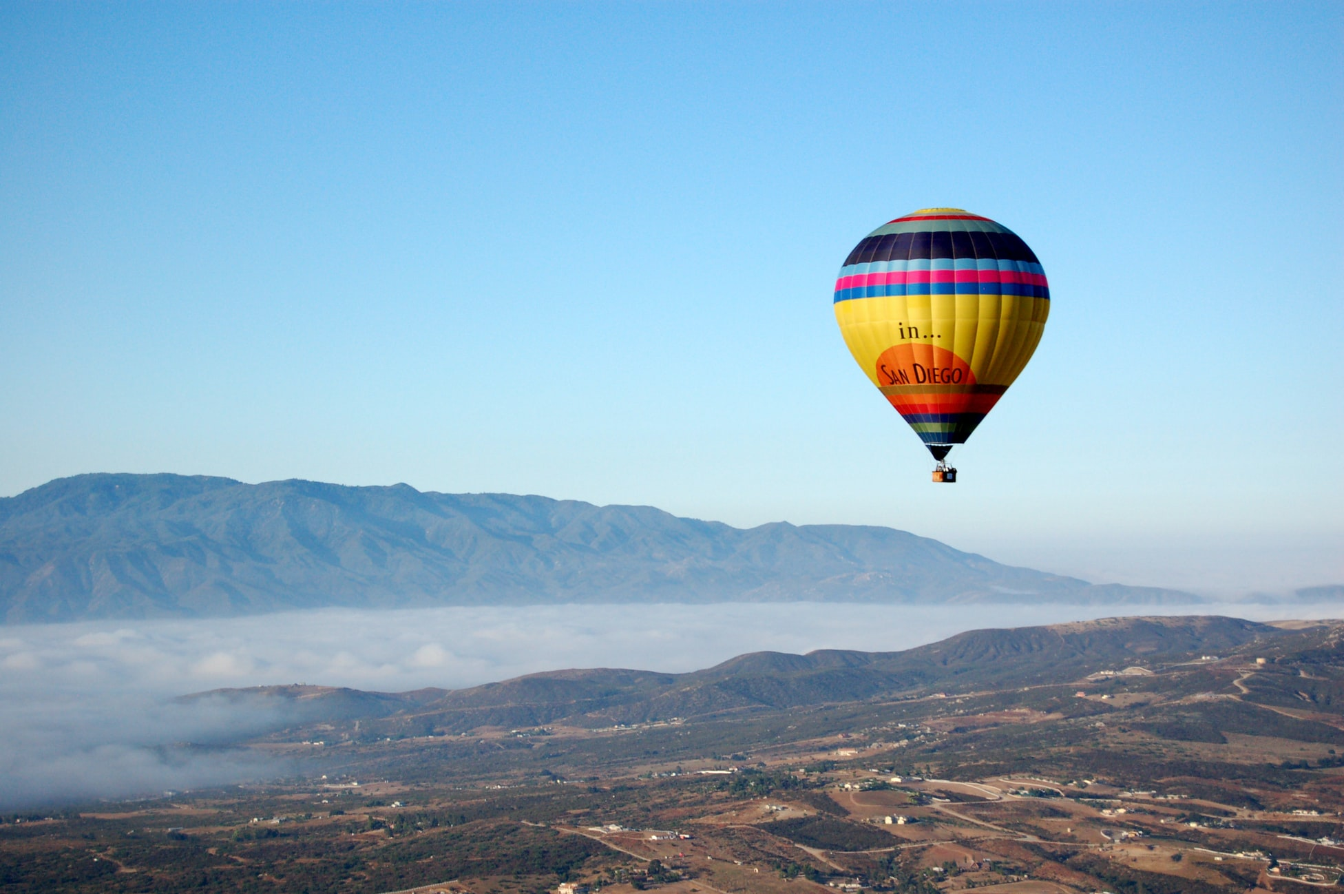 hot air balloon in the sky over Temecula, CA