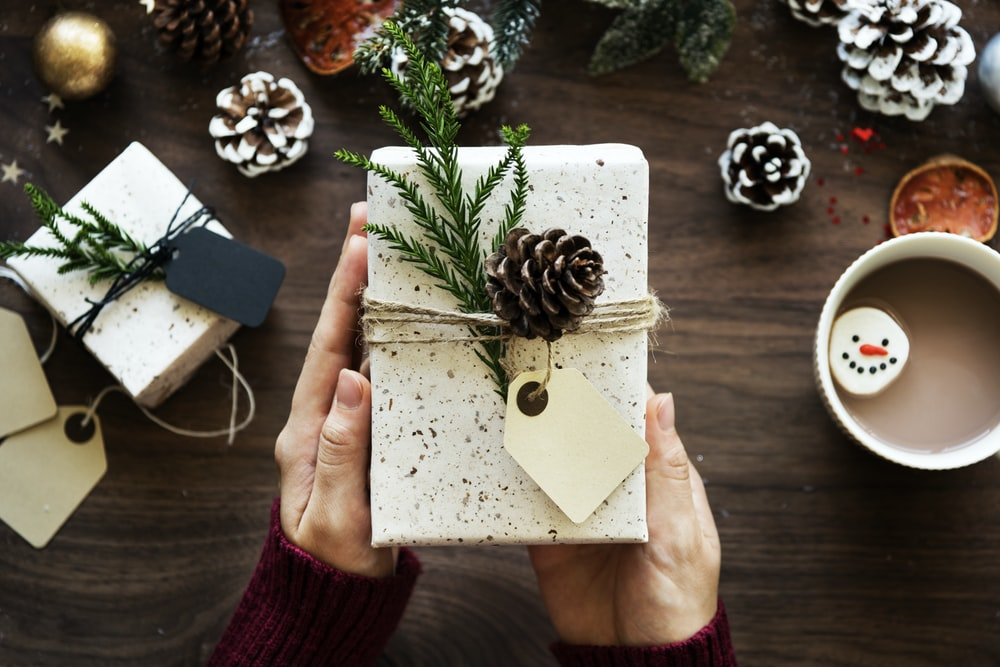 person holding gift box with pine cone