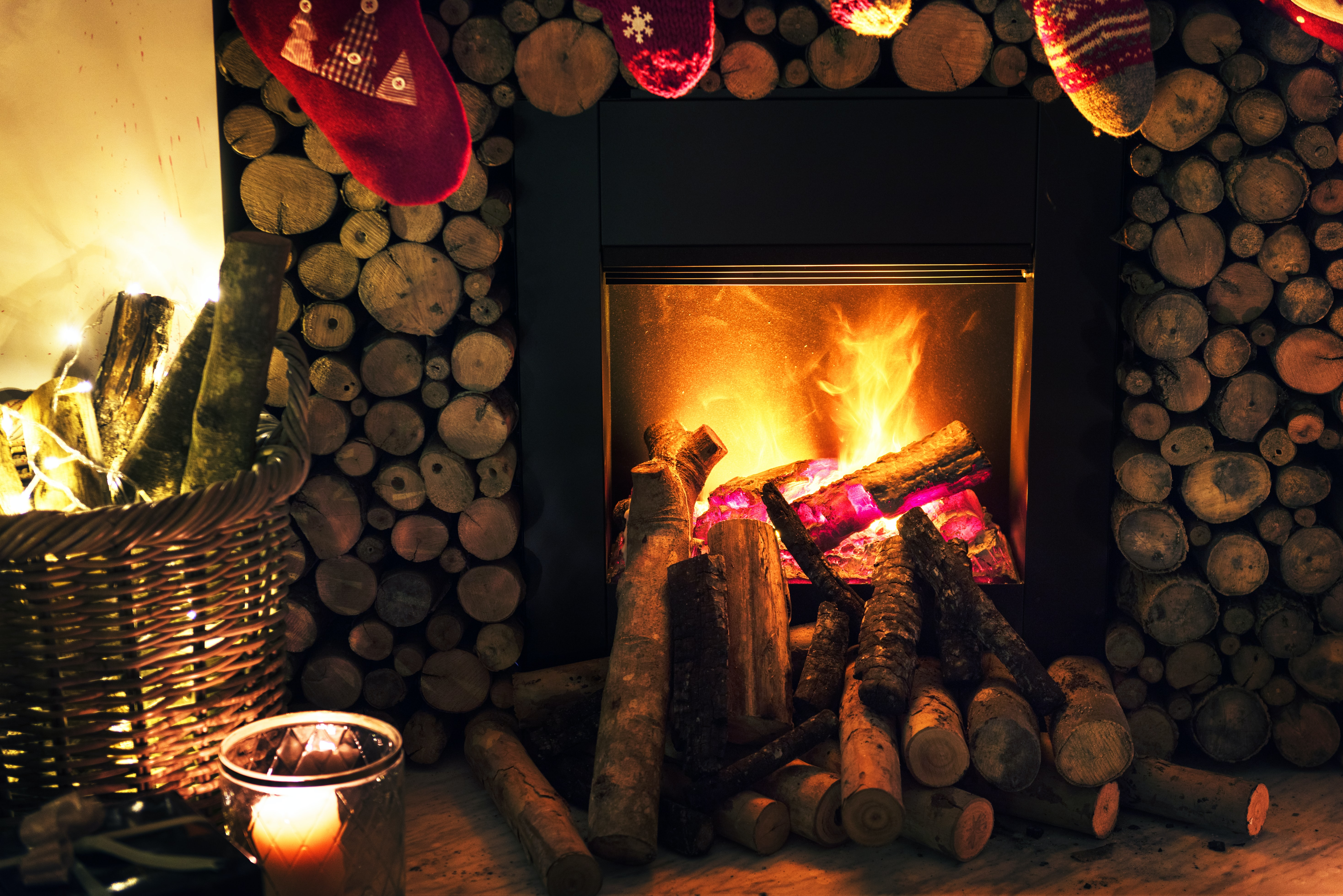 fireplace and wood log