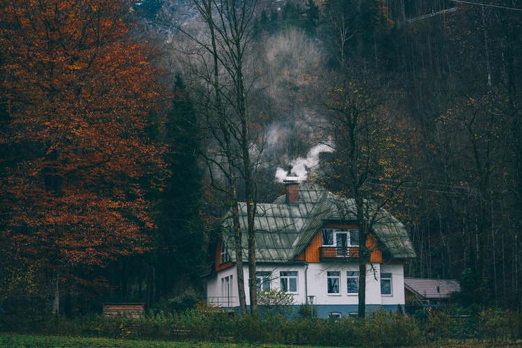 smoking cottage chimney