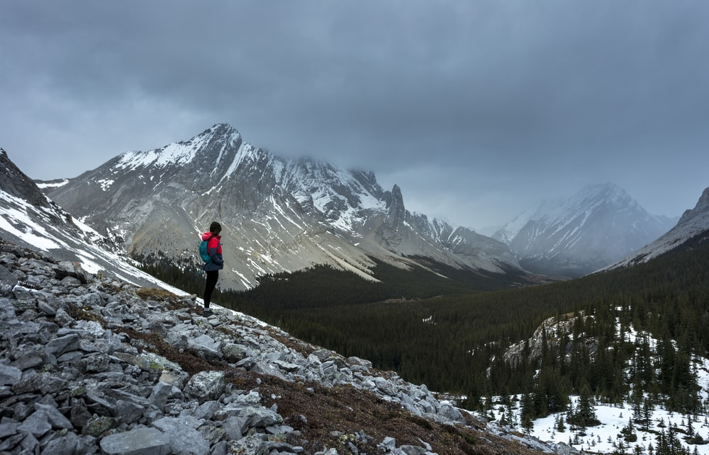 person standing on rock facing mountains