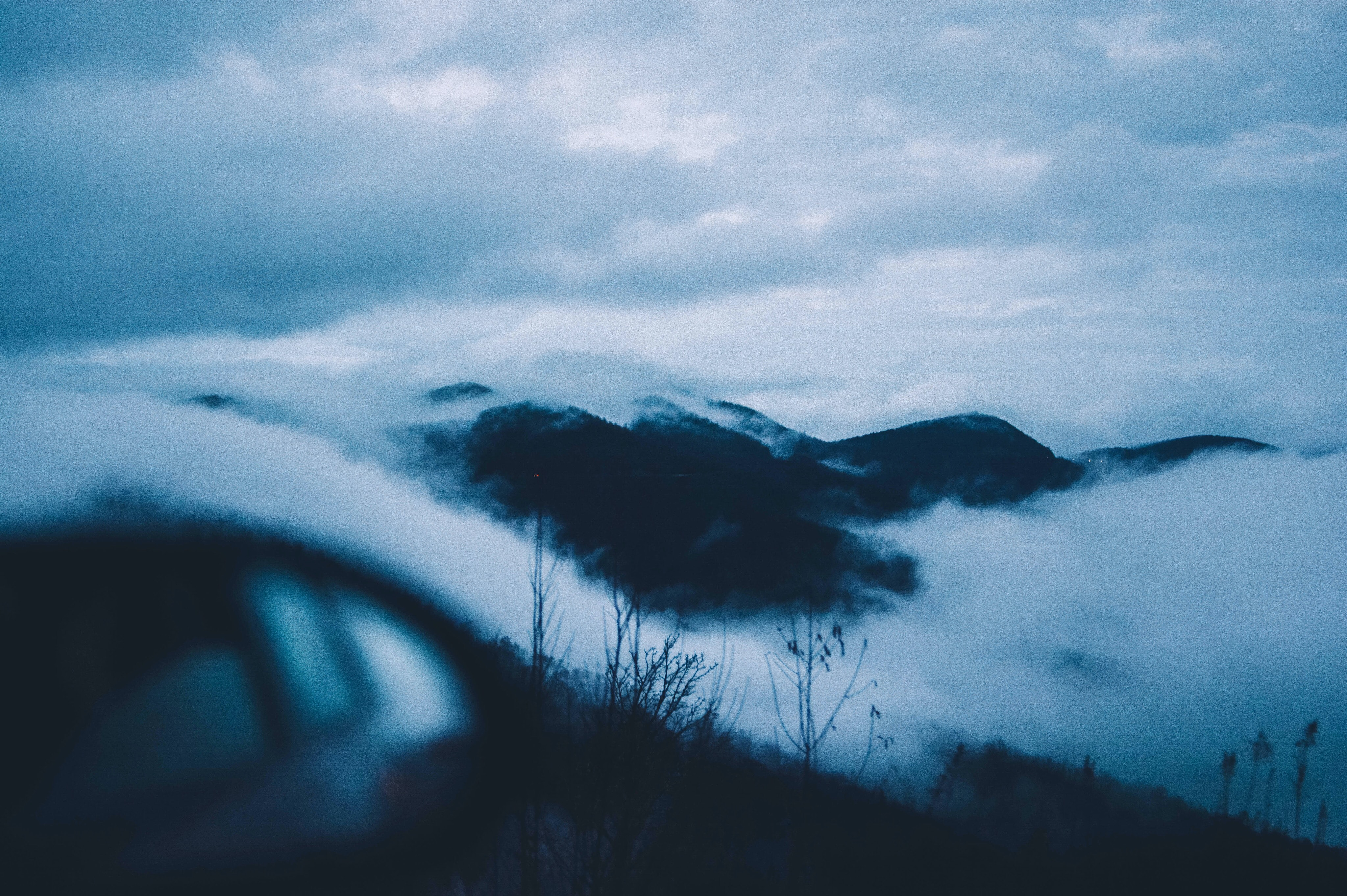 mountains covered with clouds