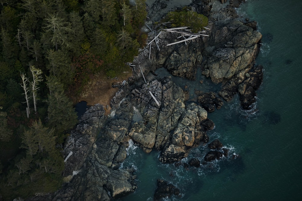 aerial view photography of beach rock