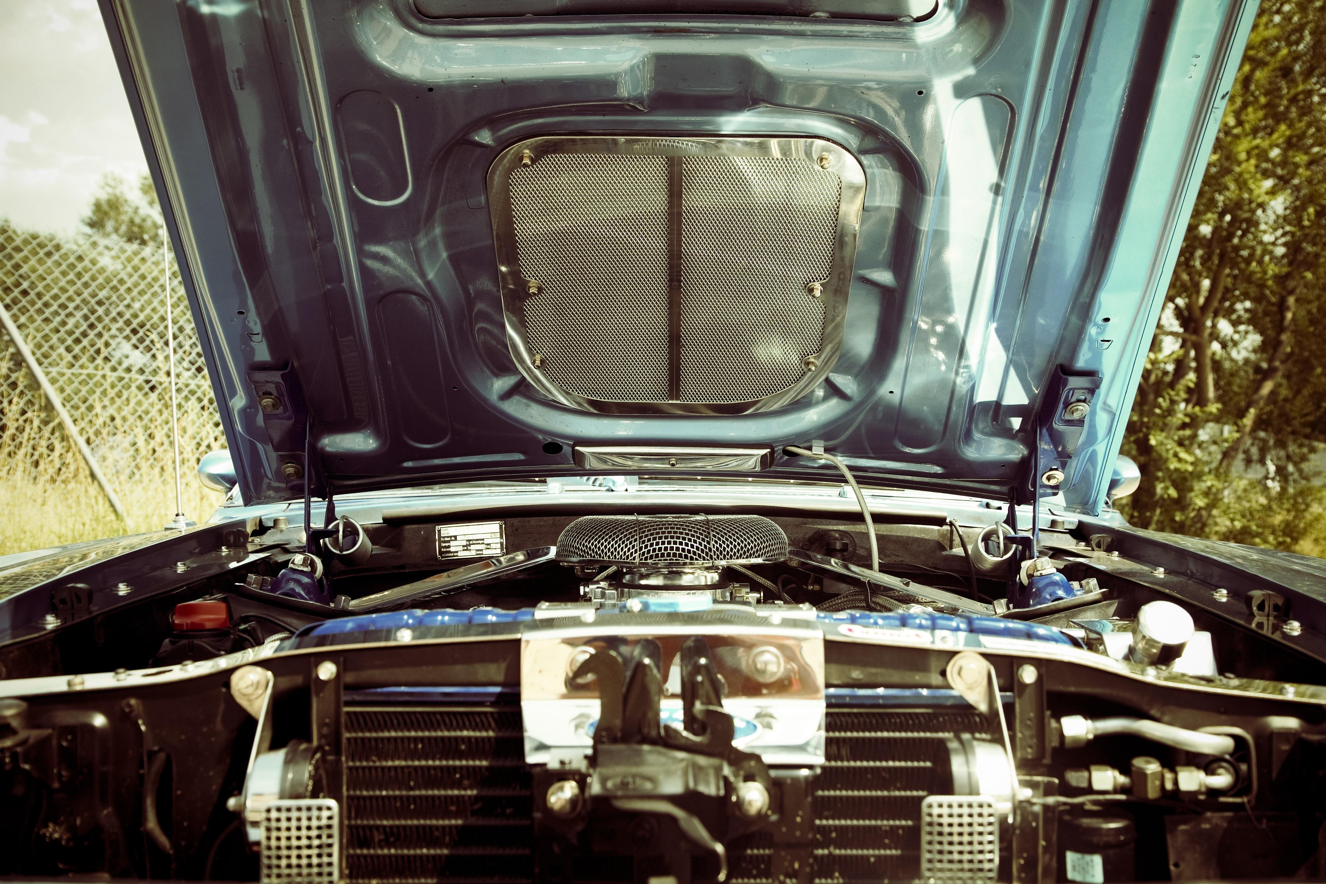open hood vehicle engine