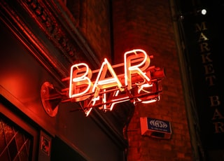 red BAR neon light singage