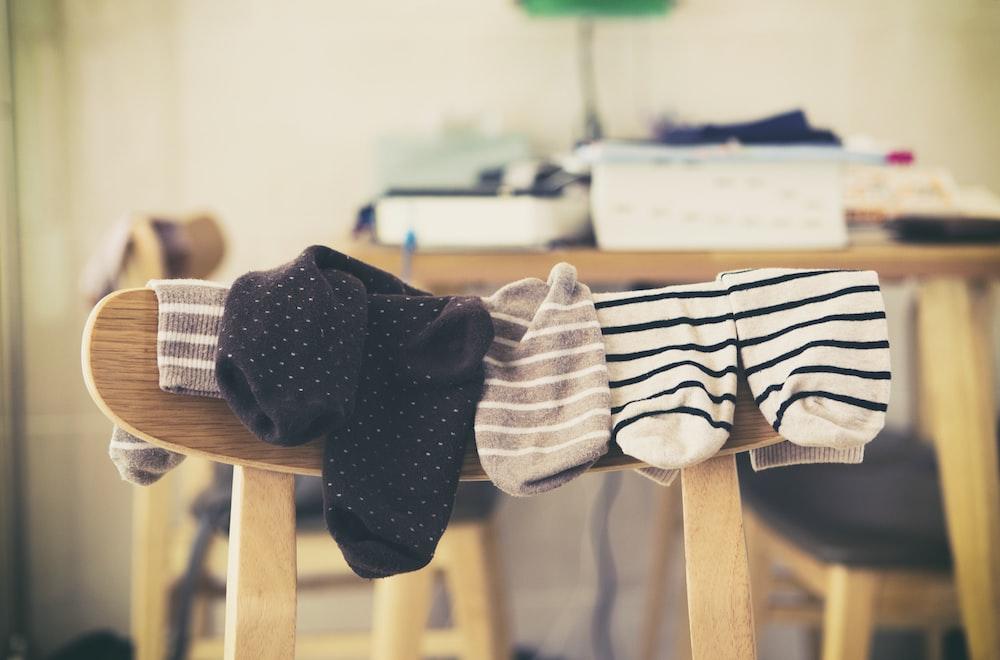 hanging socks on chair