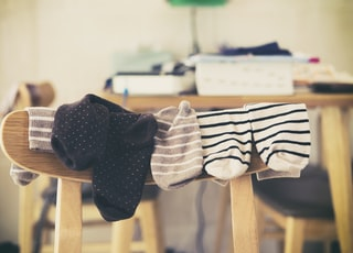 hanging socks on chair