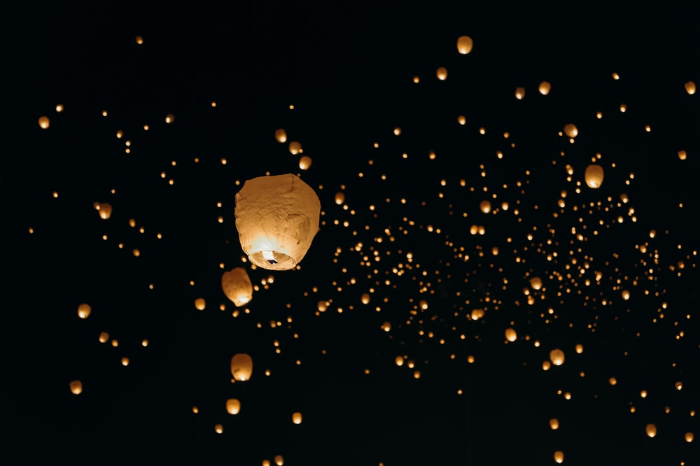 low-angle shot of paper lanterns