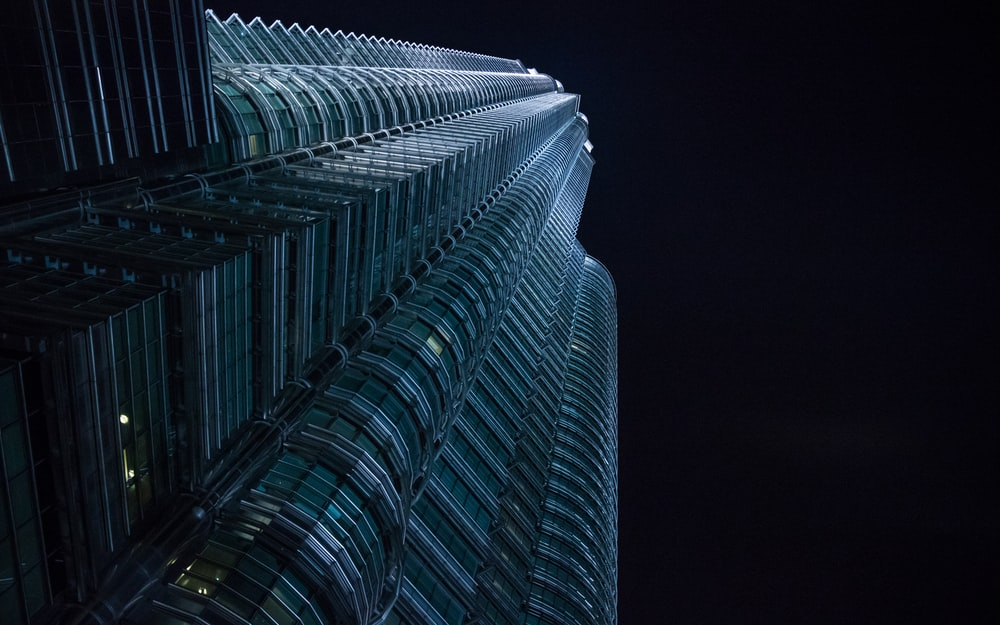 glass high-rise building worm eye view