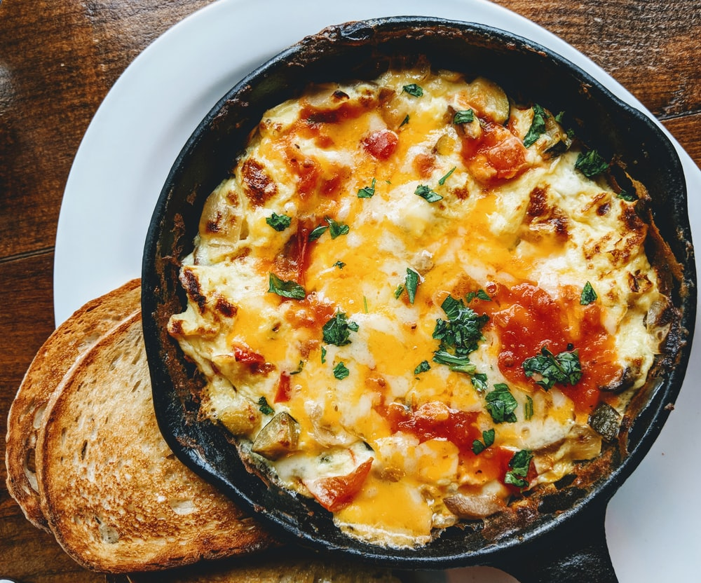 omelette on black plate