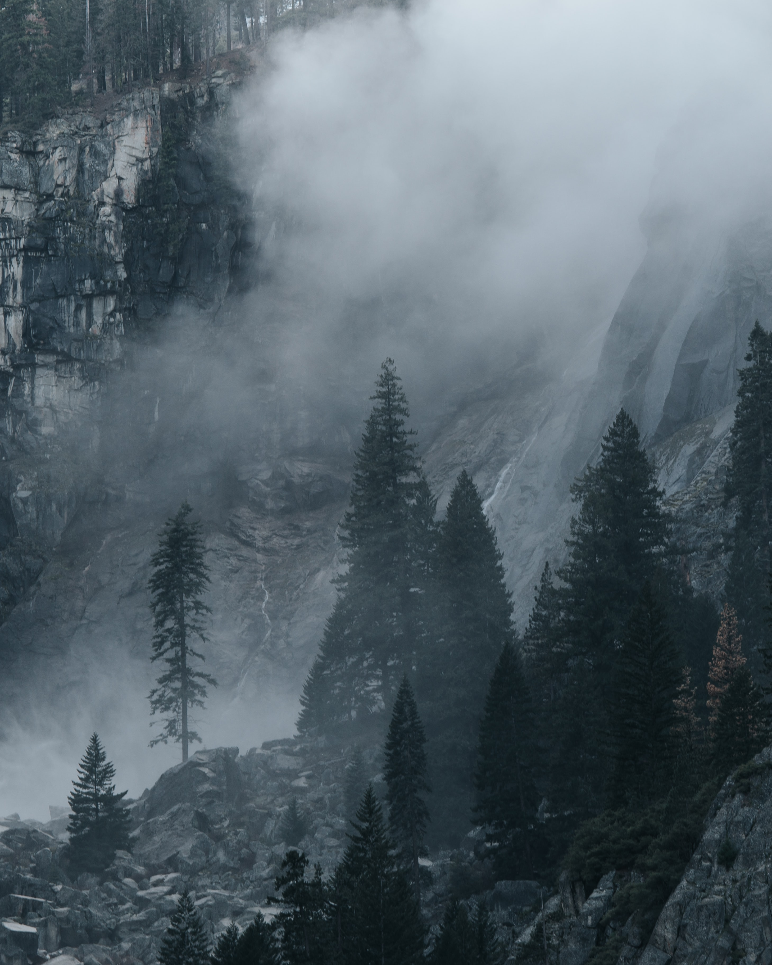 snowy mountain with fogs