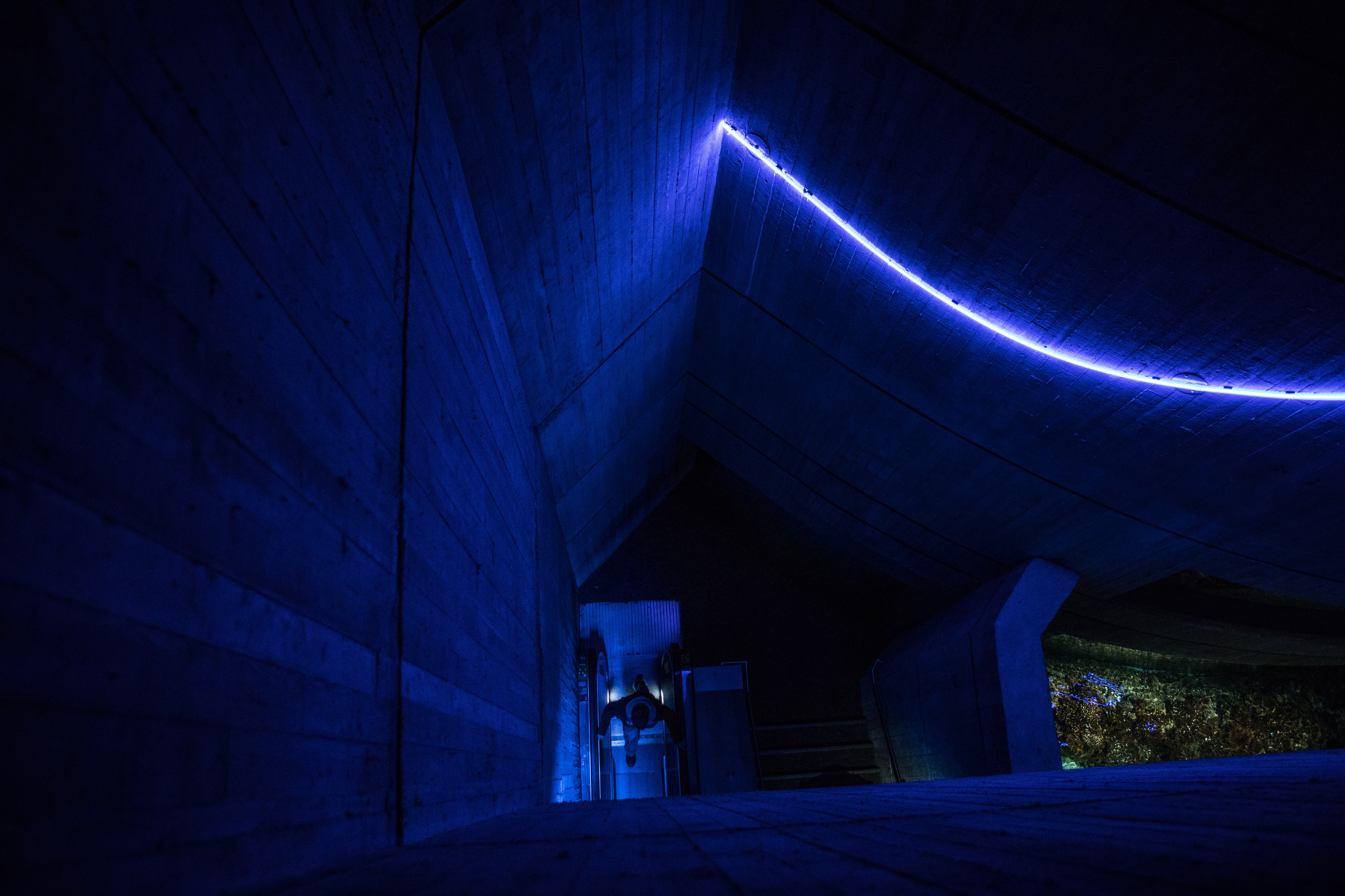 lighted concrete ceiling