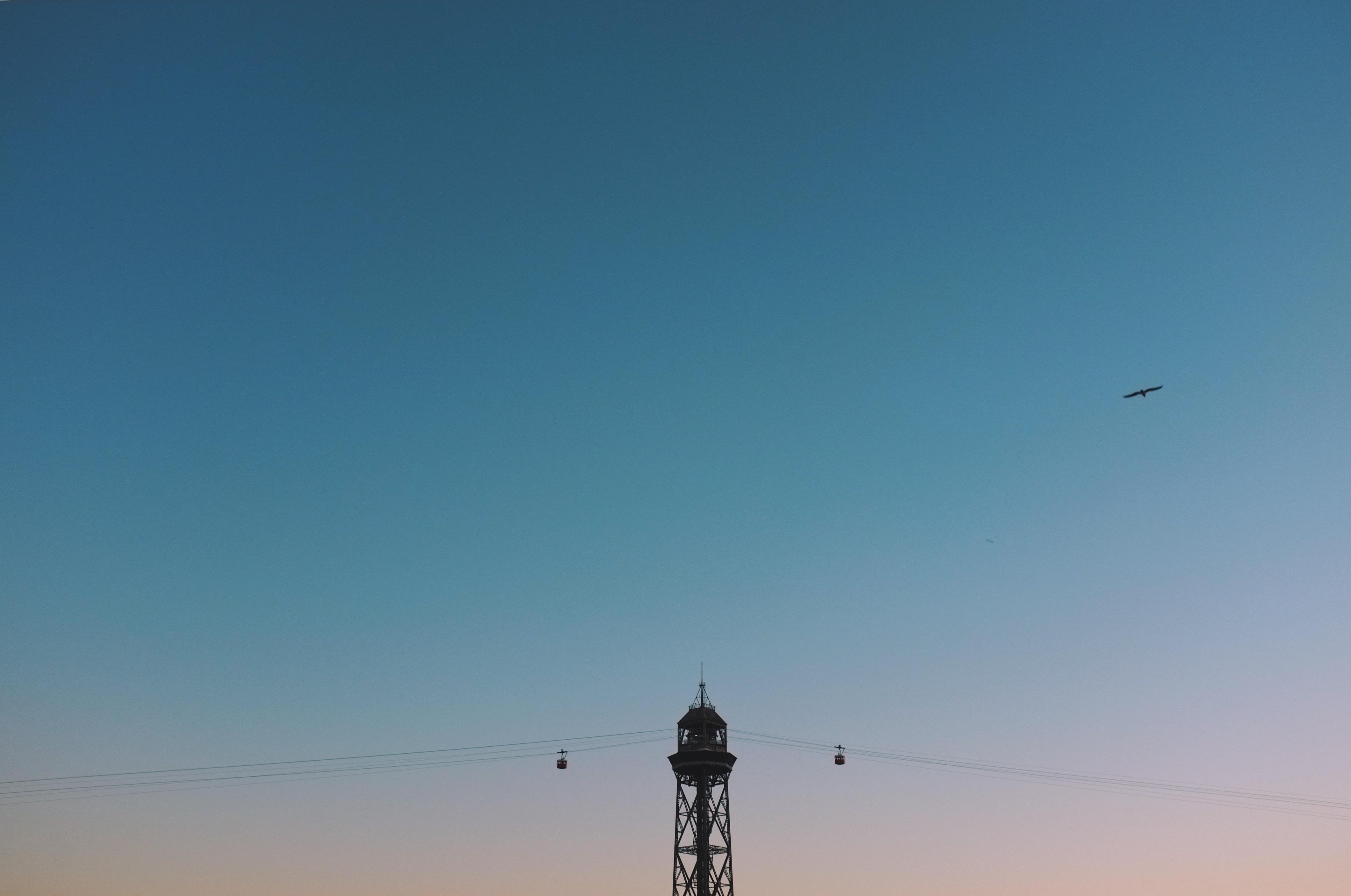 black utility pole landscape photography