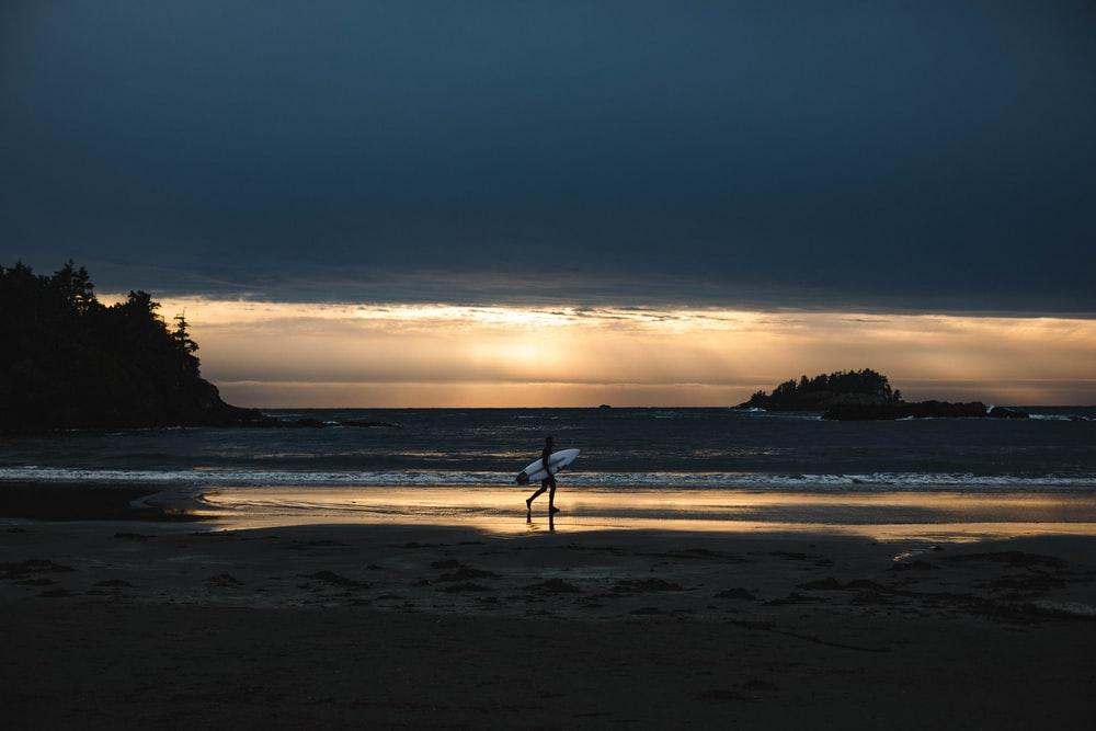 person holding surfboard walking on seashore