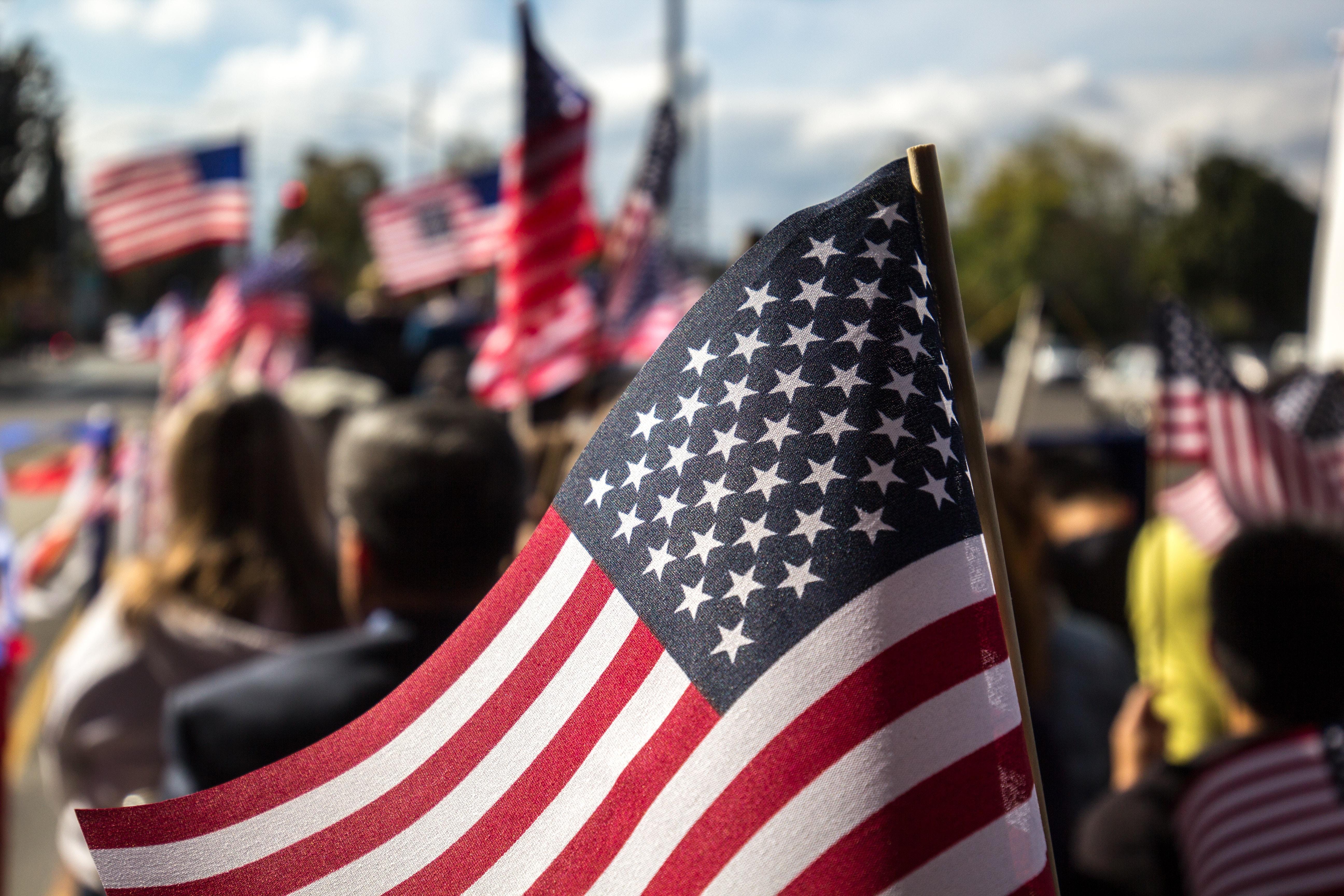 USA flag with rod