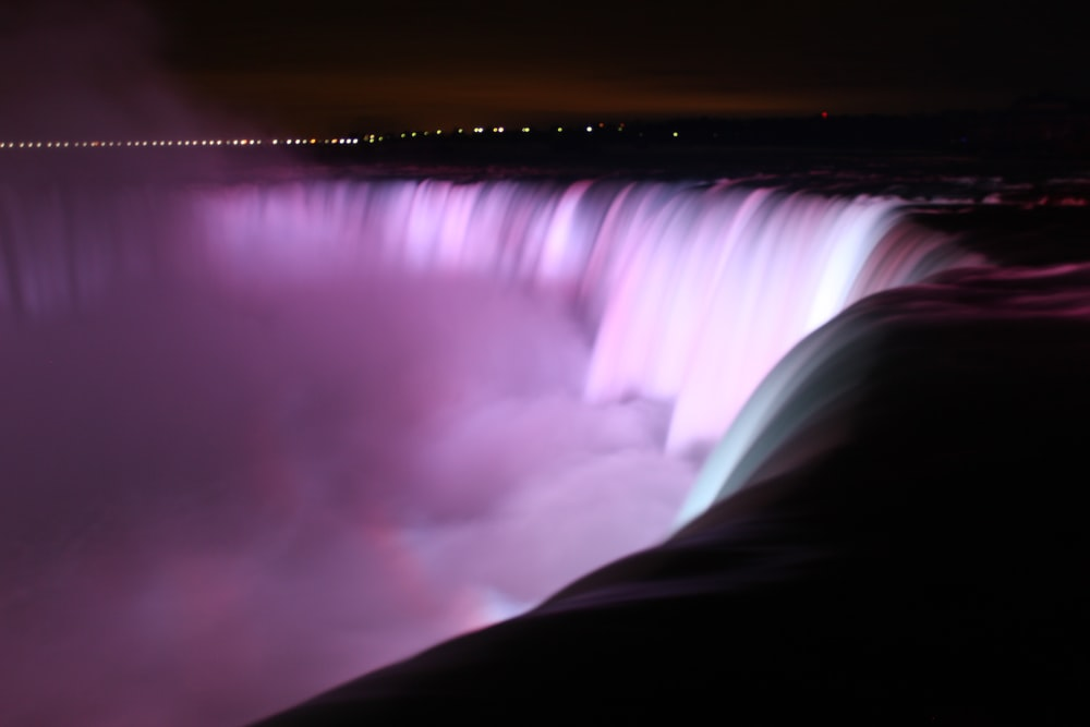 waterfalls with light effects