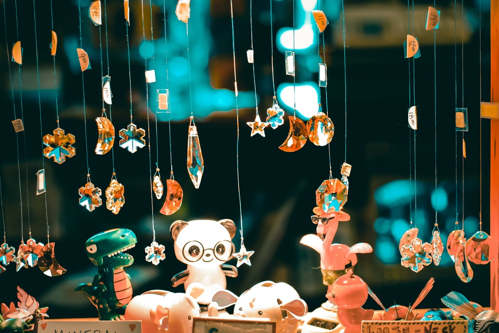 beaded hanging decors and animal figurines