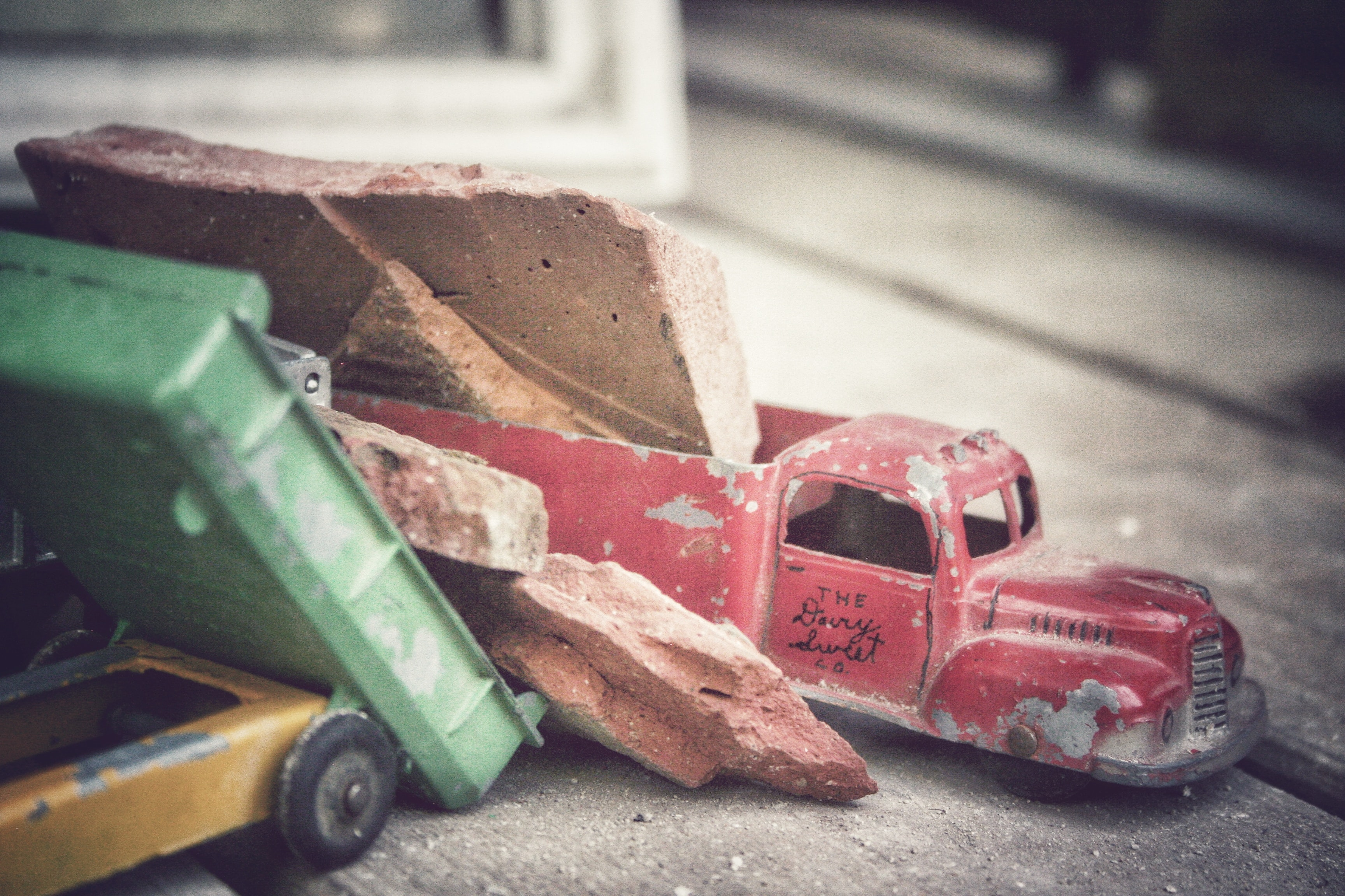 red delivery truck scale model