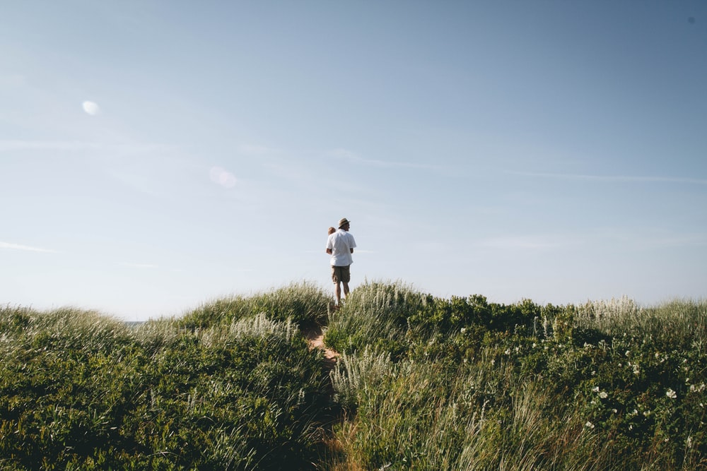 man carrying toddler standing on green field hill