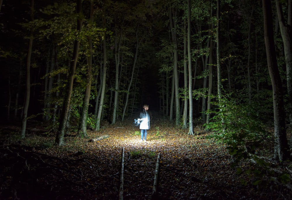 woman standing holding flashlight into woods